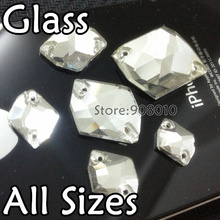Wholesale Flatback Cosmic Sew On Stones Crystal Clear Color 2holes 10x12mm~21x27mm Special Shape Sewing Glass Crystal Beads