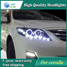 Free shipping Head lamp for Toyota corolla headlights 2011-2013 LED bar headlight DRL H7 Xenon lamp(China)