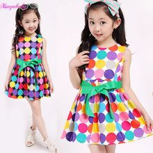 2017 Summer baby & kids clothing Girl's Princess polka dot sleeveless Casual Tank Dresses Party Dancing Dress(China)