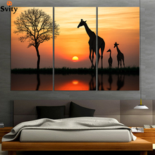 3panel Free shipping Original Animal giraffe painting pictures print on the canvas Art wall decor Home Modular picture no frame