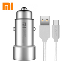 Original XIAOMI MI car charger 5V/3.6A dual car charger + Magcle 2A cable for xiaomi iphone samsung  + retail box
