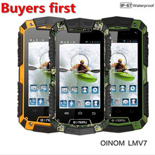 Original OINOM LMV7 IP67 MTK6572 Dual Core rugged Waterproof mobile phone Android Gorilla glass 3G GPS 3600mAH 2MP cell phone
