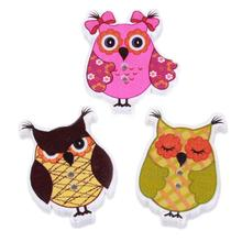 50pcs/lot Wood Cute Cartoon Owl Animal Buttons Sewing Children Buttons Clothes Ornament DIY Making 35*2.5mm ZQ162428