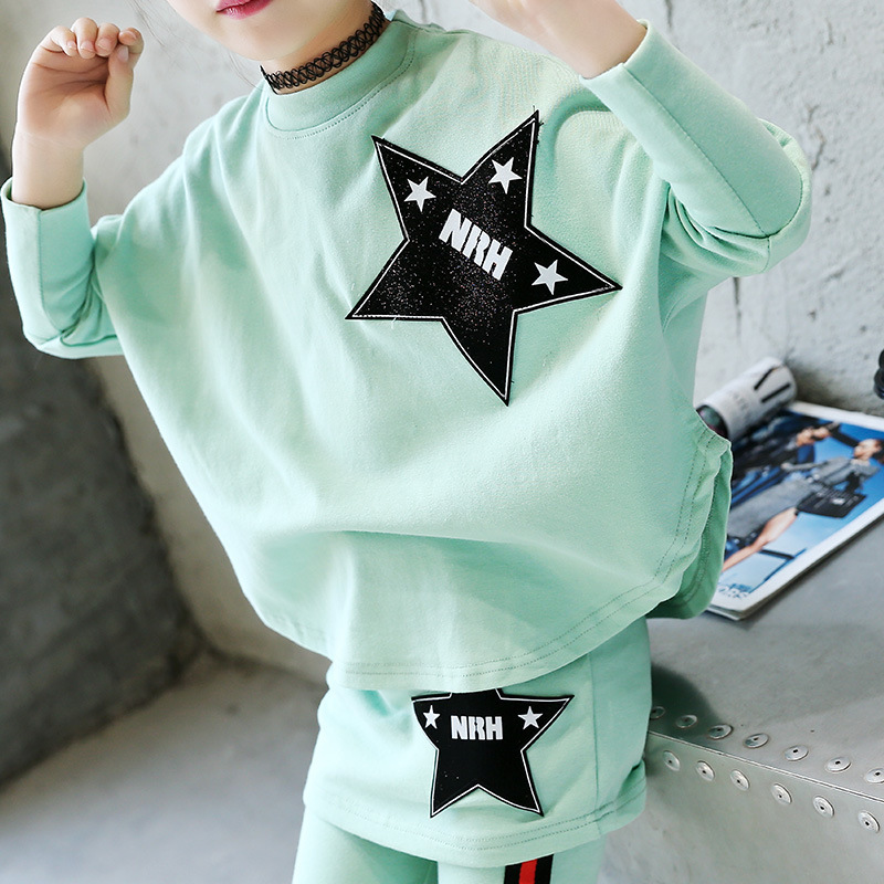 Childrens Garment Girl 2017 New Dress Children Korean Leisure Time Motion Five-pointed Star Jacket + Culotte Suit 2 Pieces<br>