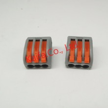 (30 pieces/lot)  WAGO 222-413 Universal Compact Wire Wiring Connector 3 pin Conductor Terminal Block With Lever AWG 28-12