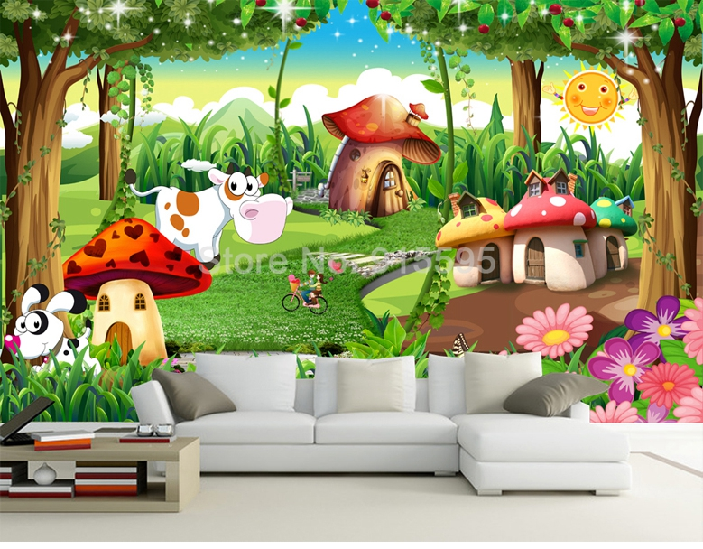 HTB19dwWiLNNTKJjSspcq6z4KVXaC - Custom 3D Photo Wallpaper Children Room Bedroom Cartoon Forest House Background Decoration Painting Wall Mural Papel De Parede