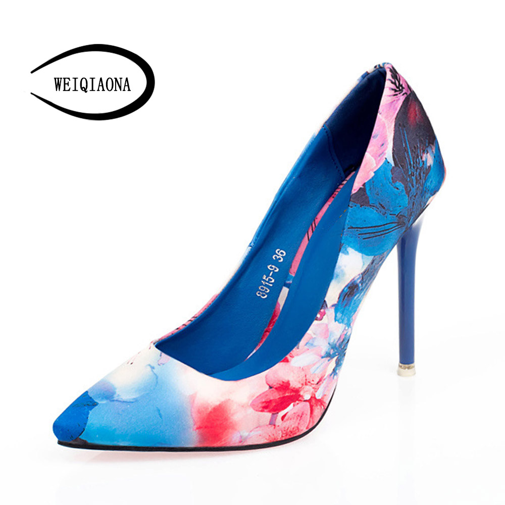 WEIQIAONA New fashion printing Floral womens shoes pointed Stiletto shoes elegant sexy high heels pumps female OL Single shoes<br>