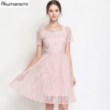 Buy Summer Lace Dress Women Clothing Pink Black Square Collar Short Sleeve Draped Dress High Plus Size 5XL 4XL 3XL 2XL XL L for $29.57 in AliExpress store