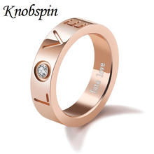 New Fashion Jewellery rings for men women Rose gold color ring female Casamento Love letter Rhinestones Stainless steel Anel