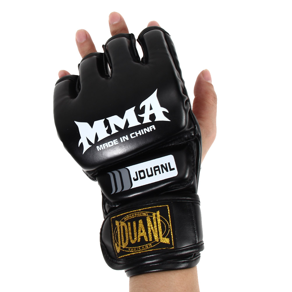 Boxing Gloves MMA Gloves Muay Thai Training Gloves MMA Boxer Fight Boxing Equipment Half Mitts PU Leather Black/Red 11