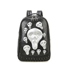 Skull backpack women cool ghost backpacks men high quality PU leather shoulder school bags laptop back bag for girls mochila