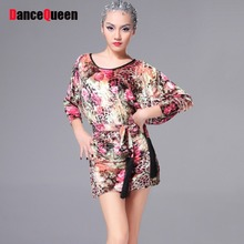 2017 Set Sexy Woman Latin Dance Dress Belt Velvet Bat Sleeve Design 2colors Vestidos De Baile Enfeites Para Quarto Samba Fitness(China)