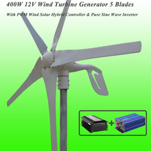 Great Discount 5 Blades 400W 12V Wind Turbine Generator With PWM Wind Solar Hybrid Controller & 1KW Pure Sine Wave Inverter