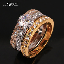 Anti Allergy 3 Rounds Cubic Zirconia Paved Engagement Rings Sets Rose Gold Color Crystal Wedding Jewelry For Women Anel DFR107(China)