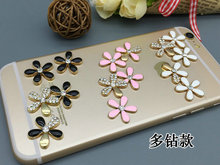 12sets/lot Alloy Small Cut rhinestones Flower Set charms cell Phone case DIY Alloy Decoration(China)