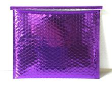 Qi 30pcs Big size Wholesales Purple Aluminum Bubble Mailers Bags Purple Glossy bubble padded envelope big bubble mailing bag(China)