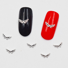 50pcs 3d nail art supplies rhinestone decoration jewelry Silver Wings design crystals/acrylic sticker manicure nails tools H038