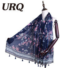 oversized flower shawl tassel scarf for women from india shawl scarves pashmina cotton voile scarf 2016 new design Chinese style(China)