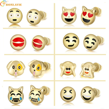 New Cute Heart Lovely Round Funny Smiley Animal Dog Monkey Emoji Earrings Jewelry Emoticons Face Stud Earrings for Women Girl(China)