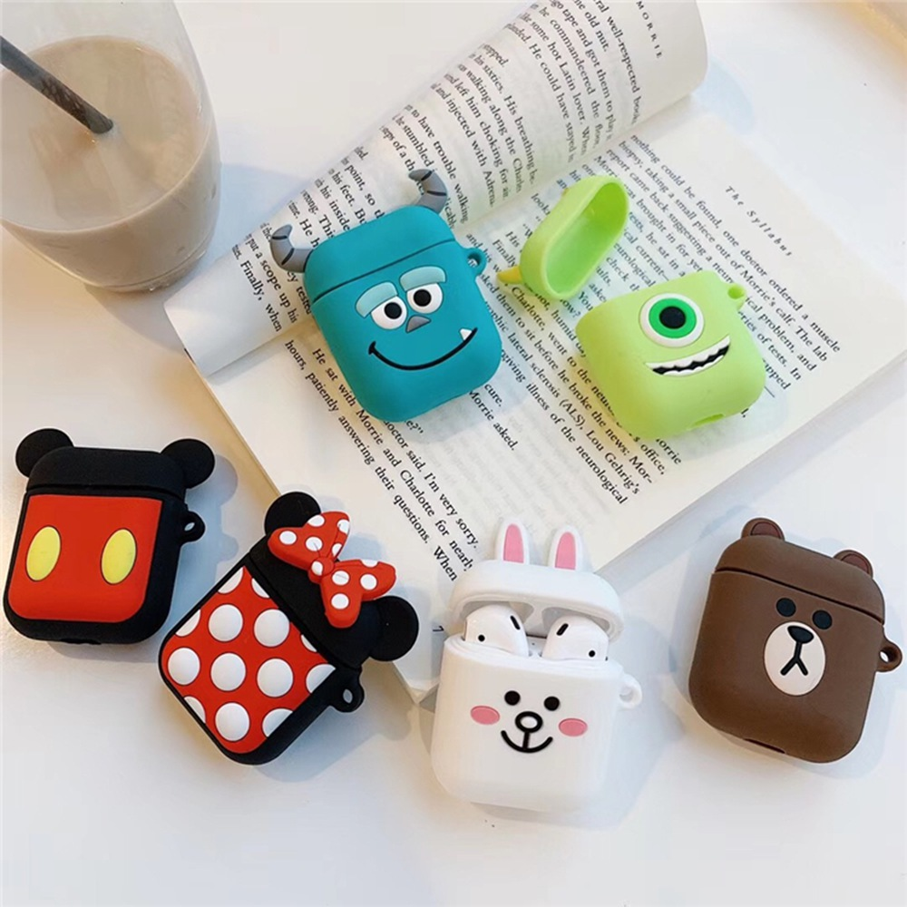 For Apple Airpods Case Silicone Bluetooth Wireless Earphone Case Headphone Protective Skin Cover For Air Pods Cartoon Cute Bag(China)