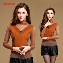 QMGOOD High Quality Slim Long-sleeved Lace T-shirt Girl High Collar Fashion Summer Clothes Sequins Orange Casual T-shirt M L XXL