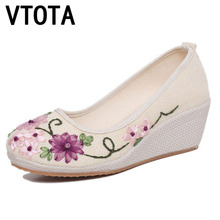 VTOTA 2017 High Heels Flower Shoes Woman Retro Breathable Slip Cotton Fabric Casual Women Shoes waterproof zapatos mujer B70