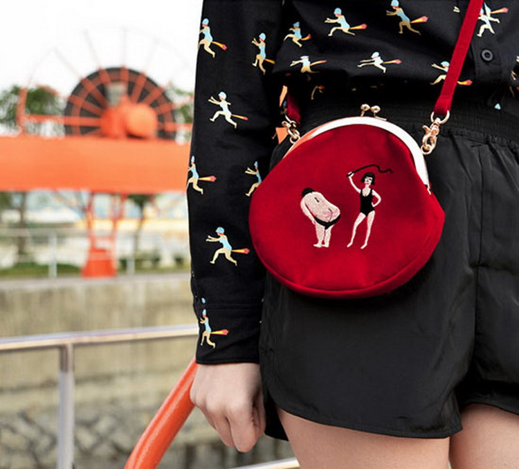 MSMO New YIZIStore Vintage Velvet Embroidery Shoulder Bags Women Messenger Bags Round Shape Clasp Bag YIZI Original Designed 07
