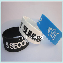 "5 Seconds of Summer 5 SOS Debossed 1"" Wide Silicone Wristband Bracelet"