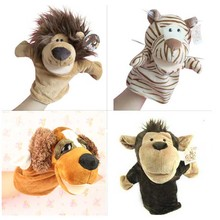 1pc/Lot Hand Puppets Animal Toys Lovely Dolls Baby Toys Cute Cartoon Plush Toys Lion Tiger Children Puppet 1i3P(China)