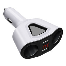 Universal 12V-24V Car Splitter Cigarette Lighter Socket Power Adapter 3.1A Dual USB Car Charger 120W Output with Voltage display