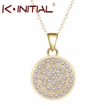 Kinitial 10Pcs High Quality Gold Necklace Pendants White Zircon 2017 Fashion Jewelry Trendy Bijouterie For Women