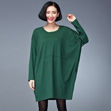 2017 plus size autumn dress women O neck batwing sleeves fashion women loose T-shirt dresses big size black/dark green(Hong Kong)