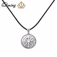 QIMING Kolovrat Slavic Pendant Amulet Silver Vintage Necklace For Women Round Charm Men Jewelry Slavic Symbol Accessories