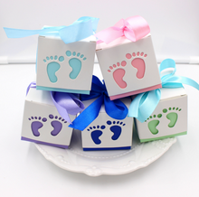 10Pcs/set Cute Baby Footprint Laser Cut Out Candy Box Baby Shower Favors Gift Paper Boxes Kids Birthday Party Supplies Pink Blue