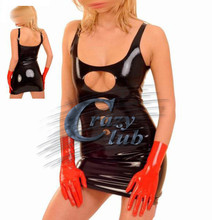 Crazy club_Sexy customize women Sexy bodycon latex Latex Zentai dress with unique chest design club wear rubber vestidos Sale(China)