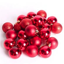 Sale New Arrivals 24 Pcs/Set 4cm Red Glitter Chic Christmas Baubles Ornament Ball Party Home Garden Decor(China)