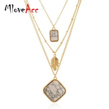 Boutique Online Store Fashion Crackle White Feather Charm Pendant Necklaces Multi-layered Collier Necklace(China)