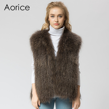 VR041 Knitted Real raccoon fur vest/ jacket /overcoat Russian women's fashion winter warm genuine fur vests ourwear