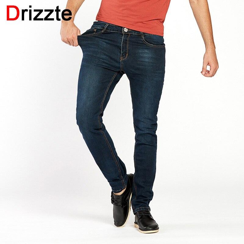Drizzte Mens Jeans High Stretch Fashion Black Blue Denim Brand Men Slim Fit Jeans Size 30 32 34 35 36 38 40 42 Pants JeanÎäåæäà è àêñåññóàðû<br><br>