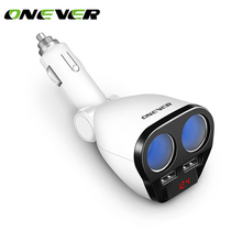 Onever 1 to 2 120W Car Cigarette Lighter Socket Splitter Hub Power Adapter with Dual USB Charger 5V/3.4A for iPhone Car Kits GPS(China)