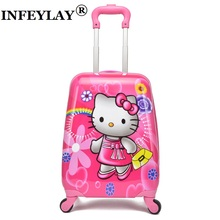 2017 COOL kids luggage rolling suitcase variety cartoon boy girl Travel 18inches students ABS+PC trolley case cute children gift