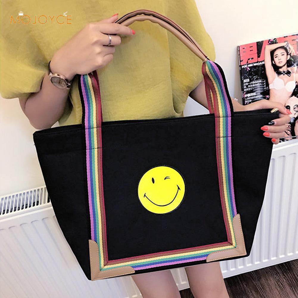 Fashion Rainbow Womens Handbag Canvas Bag Tote Smiling Printing Ladies Hand Bag Smile Shopping Bag Beach Bag Bolsa Feminina<br><br>Aliexpress