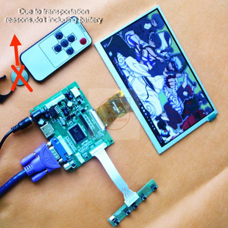 7 inch 50 PIN  BOE  165*100MM LCD Display 800*480 Monitor For Raspberry Pi + Driver Board HDMI/VGA/2AV<br><br>Aliexpress