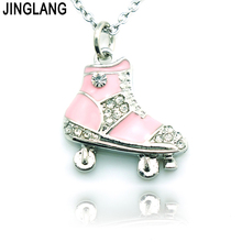 JINGLANG Brand New Fashion Metal Rhinestone Roller Skates Pendants Charm Women Necklace Jewelry For Valentines Gift(China)