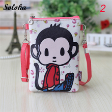 2017 New Cartoon Printed Bag Fashion Women Mini Shoulder Bags Cute Purse Handbags Girls PU Leather Phone Bag Crossbody Bag