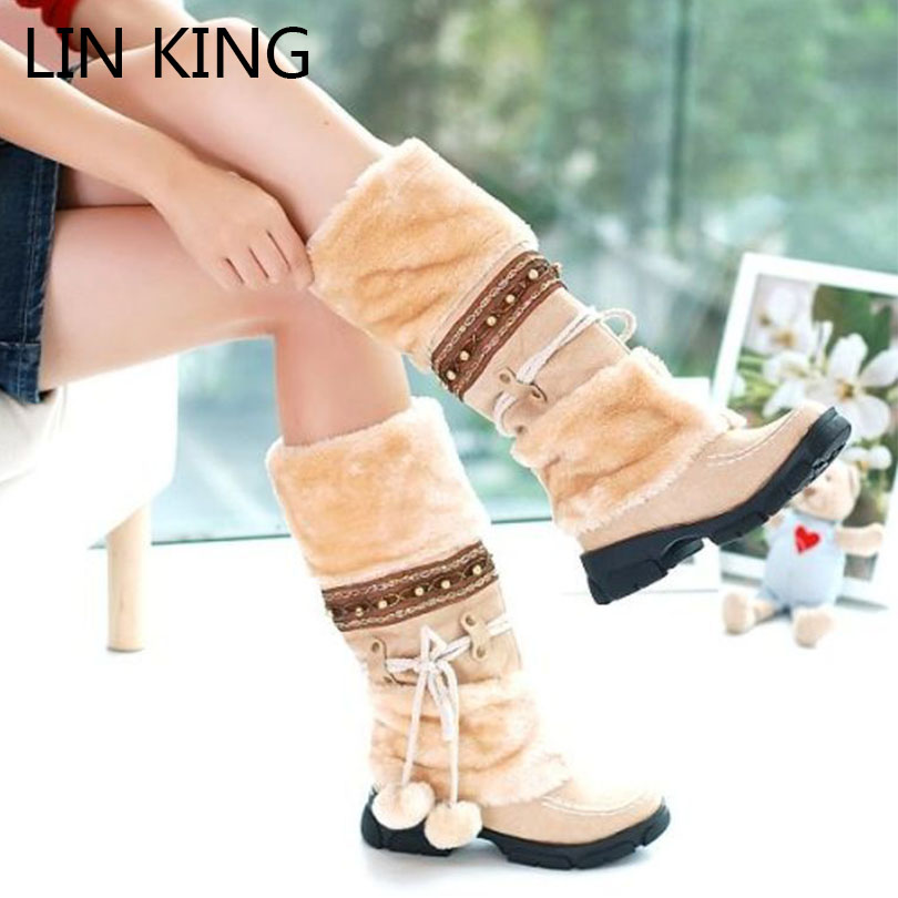 LIN KING New Fashion Fur Autumn Winter Snow Boots Women Warm Flock Lady Boots Casual Tassel Platform Over The Knee Snow Shoes<br><br>Aliexpress