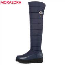 MORAZORA 2019 New arrival 눈 boots women soft pu leather 겨울 boots zipper 숙 녀 넘 다 니 boots 암 허벅지 (high) 저 (boot(China)