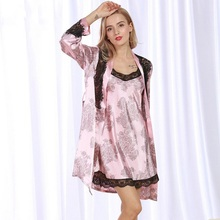 New Ladies pajamas cardigan robe sexy pajamas Home Furnishing set free shipping WP325(China)