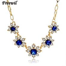 2015 blue luxury gold filled chain statement neckalce rhinestone crystal pendant necklaces for women collier femme SNE150838