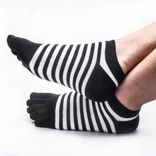 Fashion Classic Men 5 Toe Socks Black White Plaid Diamond Stripe Sox Breathable Boat No Show Summer Ankle Cut Short Socks(China)